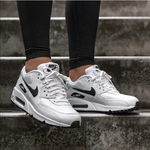 pretty nice 3c152 b5226 Women s Nike Air Max 90 White + Black Sneakers